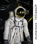 astronaut in outer space modern ... | Shutterstock . vector #745166629