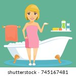 a young girl in the bathroom.... | Shutterstock .eps vector #745167481