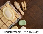 soap and towels on a brown... | Shutterstock . vector #745168039