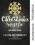 christmas party invitation... | Shutterstock .eps vector #745168414