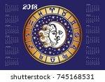 2018 new year calendar... | Shutterstock .eps vector #745168531