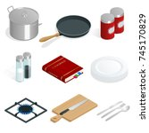 isometric vector set of... | Shutterstock .eps vector #745170829