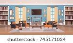 cozy living room interior... | Shutterstock .eps vector #745171024