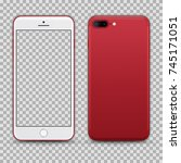 realistic red smartphone with... | Shutterstock .eps vector #745171051