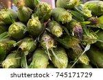 fresh corn on the cob in husks...   Shutterstock . vector #745171729