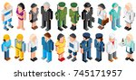 isometric people. low polygon... | Shutterstock .eps vector #745171957