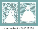 set of die laser cut card with...   Shutterstock .eps vector #745172557
