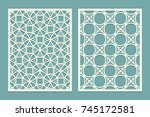 set of laser cut geometric... | Shutterstock .eps vector #745172581