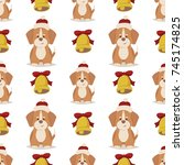 dog with red hat and gold bell. ...   Shutterstock .eps vector #745174825
