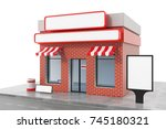 store with copy space board... | Shutterstock . vector #745180321