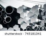 cylindrical metal steel... | Shutterstock . vector #745181341
