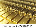 stack close up gold bars ... | Shutterstock . vector #745182919