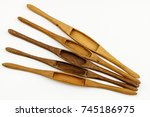 wooden weaving shuttle isolated ...   Shutterstock . vector #745186975