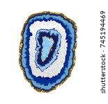 agate slice blue coaster with... | Shutterstock .eps vector #745194469