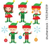 Christmas Elves Vector...