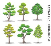 set of various shapes of trees... | Shutterstock .eps vector #745196191