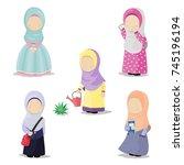collection of muslim girls... | Shutterstock .eps vector #745196194