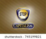 shiny badge with stop icon and ... | Shutterstock .eps vector #745199821
