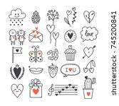 love and hearts. hand drawn set ...