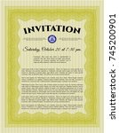 yellow vintage invitation...   Shutterstock .eps vector #745200901
