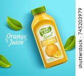 orange juice package design ... | Shutterstock .eps vector #745203979
