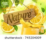 Orange juice ads, glass of juice with nature wood sign isolated on bokeh green background, 3d illustration bottle with label | Shutterstock vector #745204009