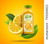 orange juice package design... | Shutterstock .eps vector #745204021