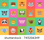 animal carnival set of animal... | Shutterstock . vector #745206349