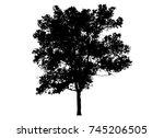 black tree silhouettes on white ... | Shutterstock .eps vector #745206505