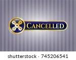 gold emblem with mechanism... | Shutterstock .eps vector #745206541