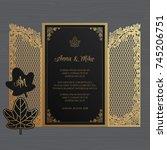 wedding invitation or greeting... | Shutterstock .eps vector #745206751