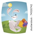 easter bunny and three... | Shutterstock .eps vector #74520742