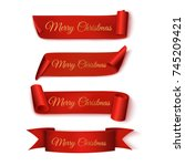 merry christmas. set ribbons.... | Shutterstock .eps vector #745209421