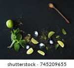 ingredients for mojito. fresh... | Shutterstock . vector #745209655