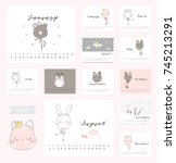 cute calendar with animal  | Shutterstock .eps vector #745213291