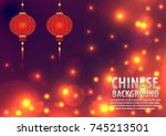 chinese background. orange... | Shutterstock .eps vector #745213501