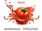 Sliced Tomato With Splashing...