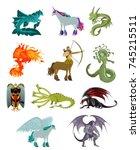 fantastic animal beasts... | Shutterstock .eps vector #745215511