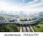 road junction in midtown of...   Shutterstock . vector #745221757