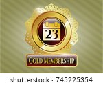 gold emblem with calendar icon ... | Shutterstock .eps vector #745225354
