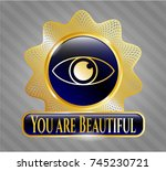 gold emblem with eye icon and...   Shutterstock .eps vector #745230721