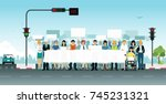 people gathered protesting off... | Shutterstock .eps vector #745231321