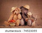 Three Teddy Bears In Autumn