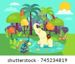 indian flora and fauna cartoon... | Shutterstock .eps vector #745234819