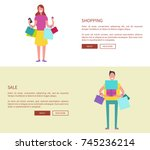 people with shopping bags on... | Shutterstock .eps vector #745236214