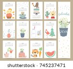 colorful cute monthly calendar... | Shutterstock .eps vector #745237471