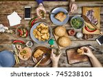 thanksgiving. hamburgers and... | Shutterstock . vector #745238101