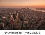 ariel view of manhattan city at ... | Shutterstock . vector #745238371