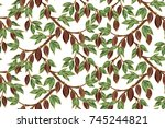 seamless vector pattern with... | Shutterstock .eps vector #745244821