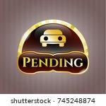 golden badge with car seen...   Shutterstock .eps vector #745248874